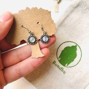 Moonstone Filigree Sterling Silver Hook Earrings